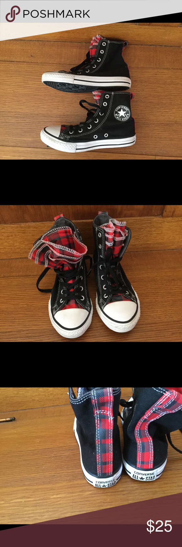 5068f57fdc39 Converse Chuck Taylors EUC Red Flannel Black high tops with double younger  of red black