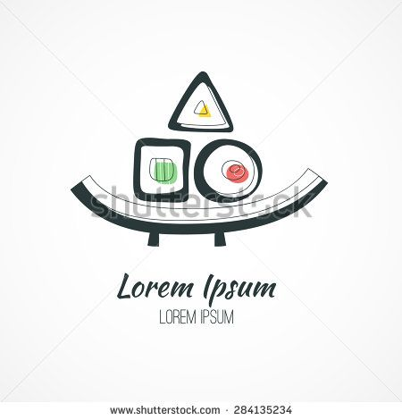 Sushi on a plate - artistic concept for japanese restaurant. Branding identity element. Vector logo design concept. Isolated high quality vector graphic. - stock vector