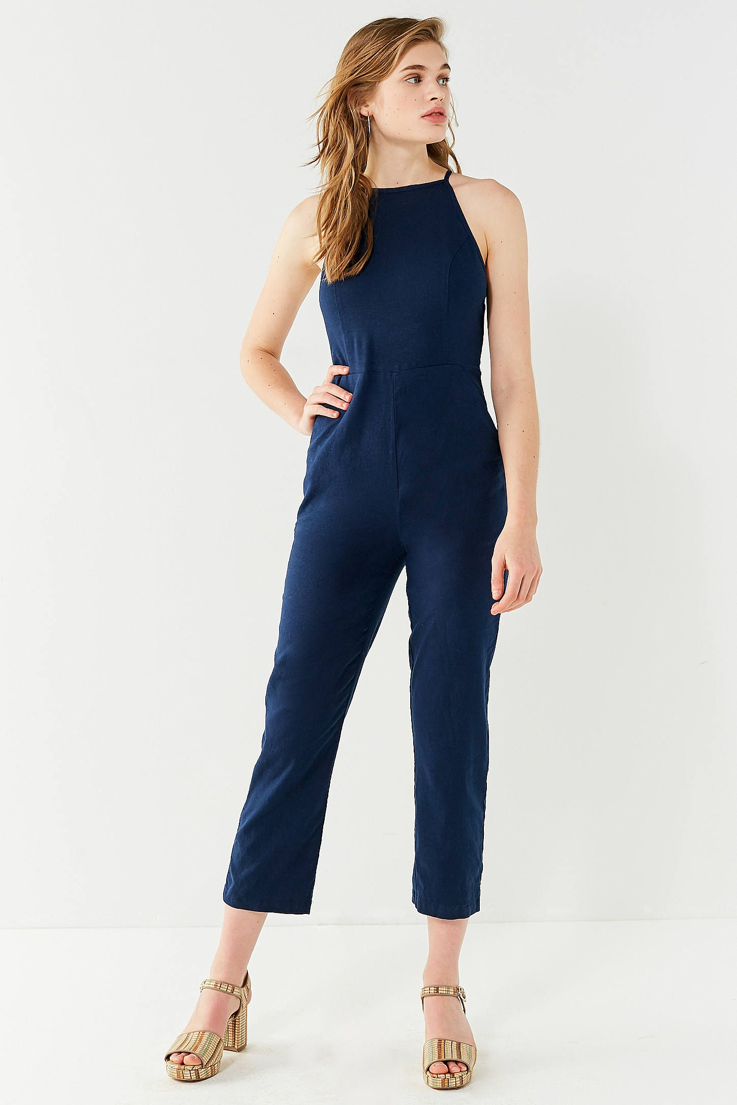 06f1ced2ebb UO Hattie High-Neck Linen Jumpsuit at Urban Outfitters