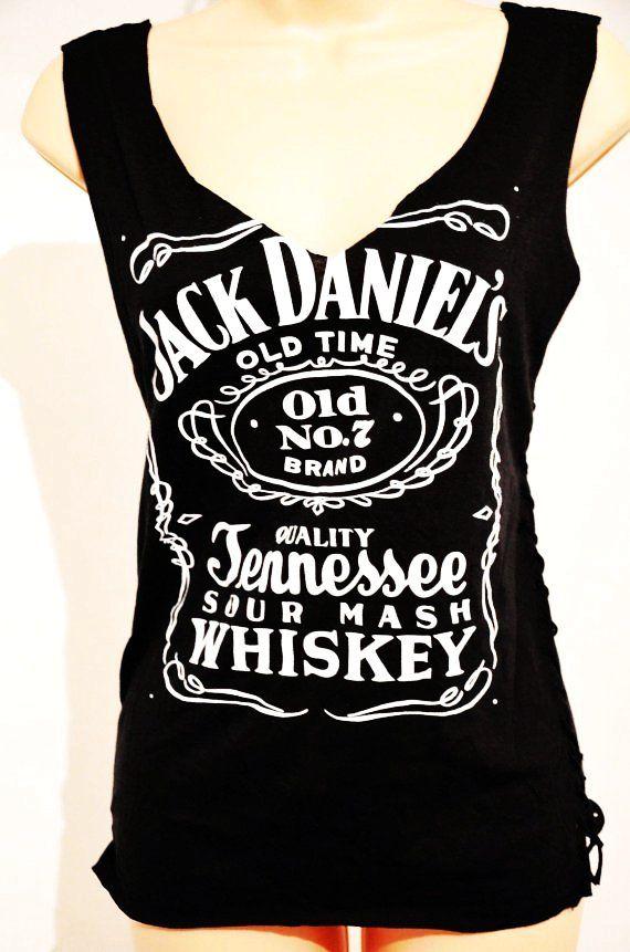 19dbc780 CUSTOM CUT deep V Jack Daniel's black Jack Daniels shredded, weaved, Tank  Top T shirt with Spine Slashed back