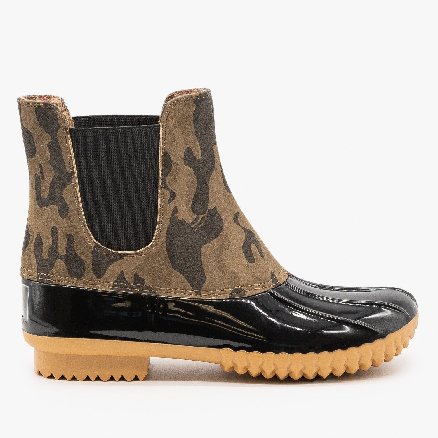 Camouflage Slip On Duck Boots   Boots