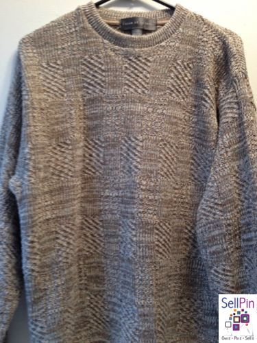 $29.95: Oscar de la Renta Knit 90% Cotton Blend Men's Sweater Large Tan Pullover