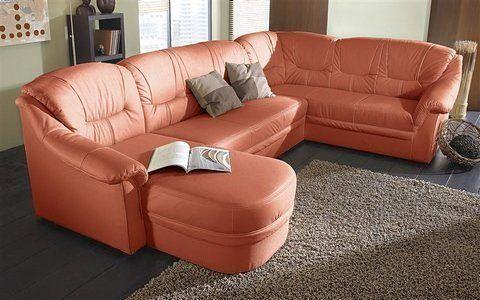 Wohnlandschaft rot, Recamiere links, FSC®-zertifiziert, yourhome - wohnzimmer orange rot
