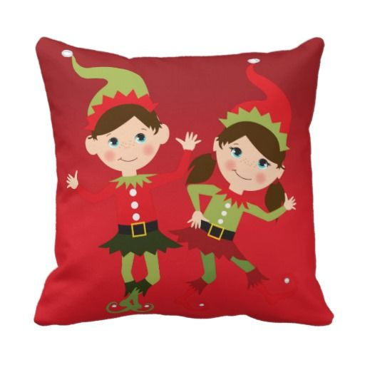 Christmas Cute Elves Party throw pillow
