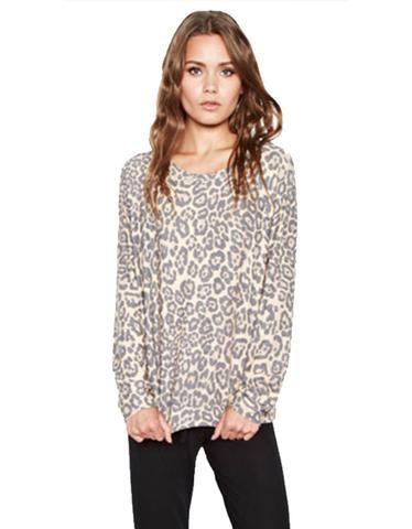 Michael Lauren Percy Classic Pullover in Tan Leopard