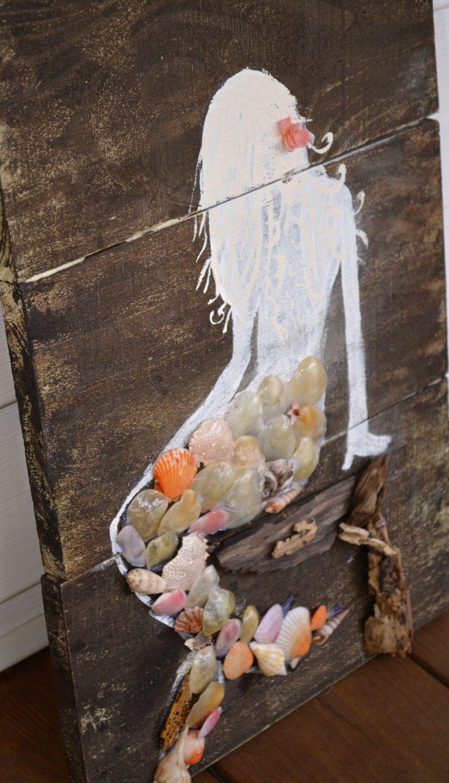Vintage Wooden Mermaid Sign от Simplebeachsigns на Etsy In