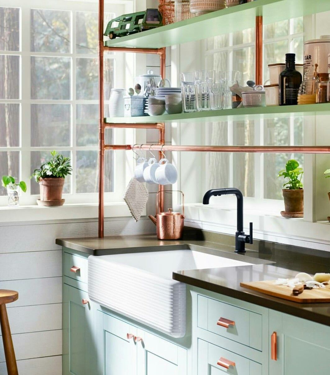 Copper Mint Green And White Kitchen Tallonperryinteriors