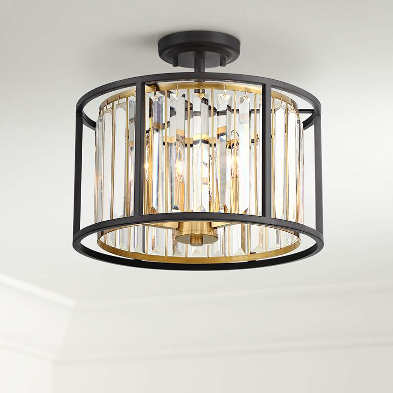 Wide Bronze And Br Ceiling Light