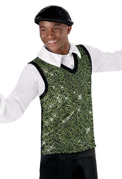 Men's Sequin Velvet V-Neck Vest; Weissman Costumes