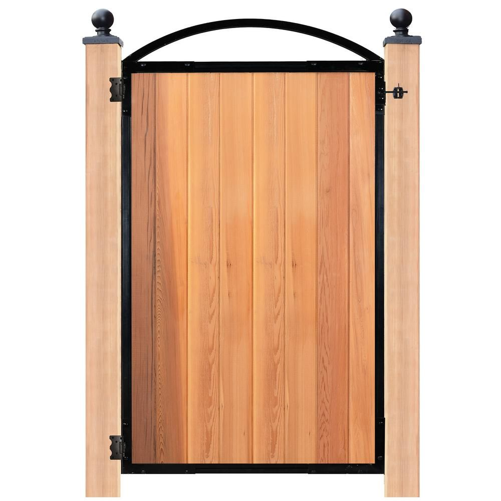 Nuvo Iron Easy To Install Arched Gate 8 Board Pro For 47 In Openings Pro8 The Home Depot In 2021 Adjust A Gate Wood Gate Steel Gate