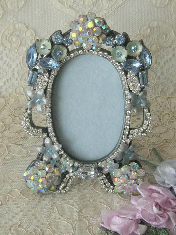 Hand Decorated Jeweled Small Vintage Picture Frame - Artist One of a ...