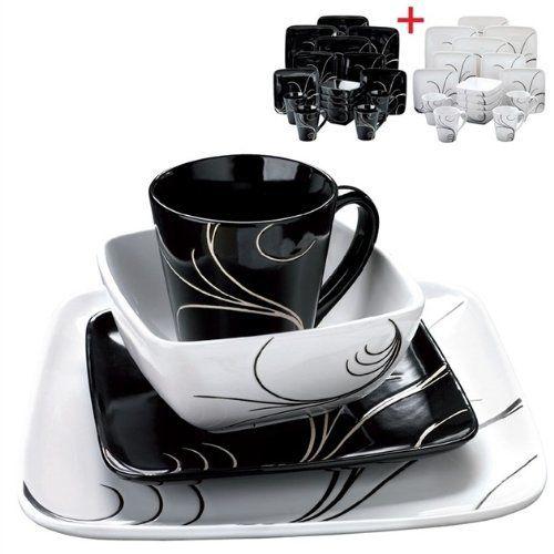 16 + 16-Piece Swirl Dinner Set  Contemporary design square black/white swirl  sc 1 st  Pinterest & 16 + 16-Piece Swirl Dinner Set  Contemporary design square black ...