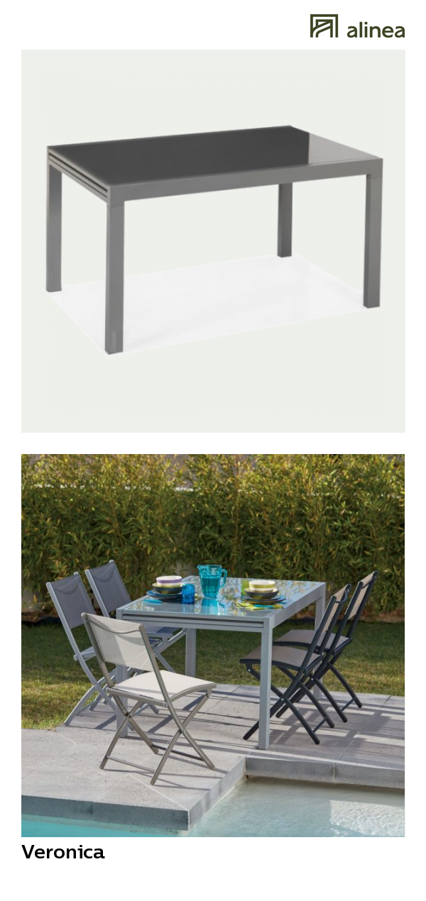 alinea : veronica table de jardin extensible grise en alu et ...