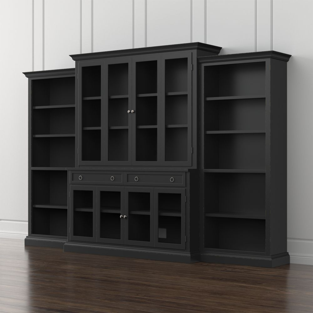 Cameo 4 piece modular bruno black glass door wall unit with open bookcases