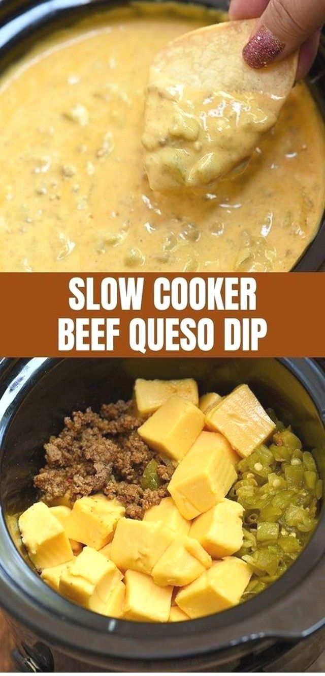 Crockpot Recipes | Slow Cooker Beef Queso Dip #healthycrockpots