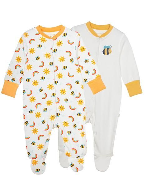 24c1aa0181c49 Frugi organic cotton lovely babygrow 2 pack - sunny buzzy bee - Baby Gift  Works