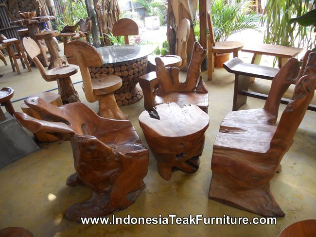 Teak Root Wood Furniture Set Including Chairs And Table Teak Wood Table And Chairs Set Teak Wood Teak Wood Furniture Wood Table