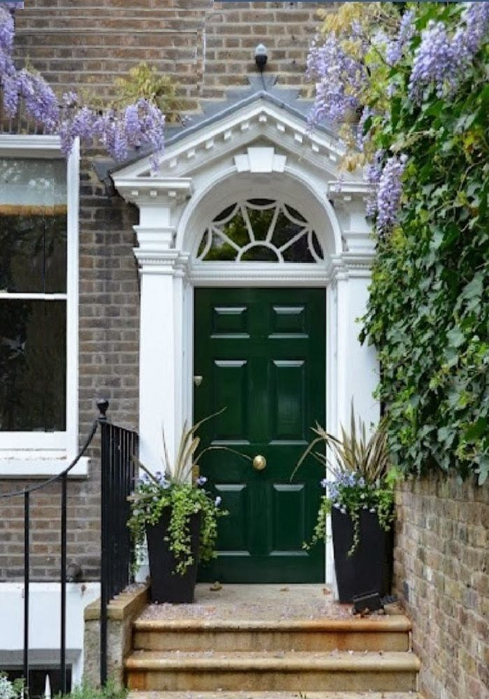 Gray Brick White With Hunter Green Door Green Front Doors Front Door Colors Painted Front Doors