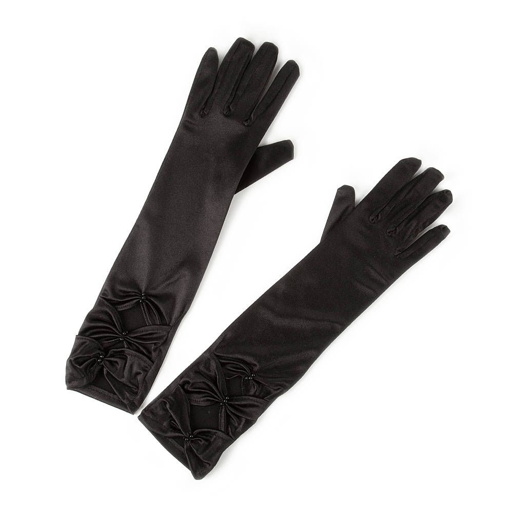Claires black gloves - Black Long Satin Gloves With Bowtie Ruching Claire S