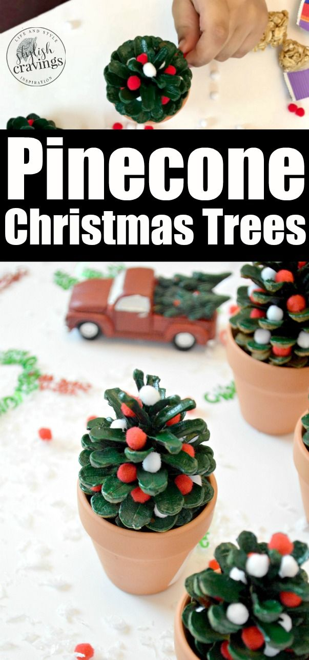 Pinecone Christmas Trees #ad #Christmascrafts #kidscrafts #christmas #pineconecr…