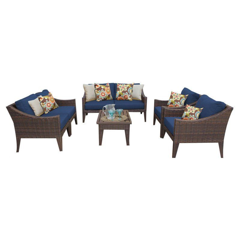 Outdoor TK Classics Manhattan Wicker 7 Piece Patio Conversation Set with Club Chair and 2 Sets of Cushion Covers Navy / Wheat - MANHATTAN-07C-NAVY