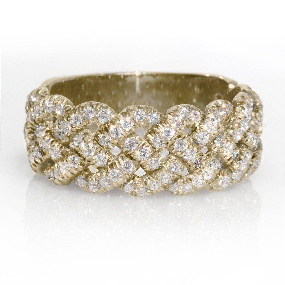 Braided Wedding Band, 0.8 CT Diamond Wedding Ring, 14K