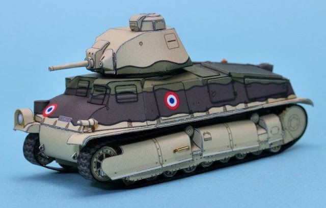 PAPERMAU: French Tank Somua S35 Paper Model In 1/72 Scale - by Mr. Cube