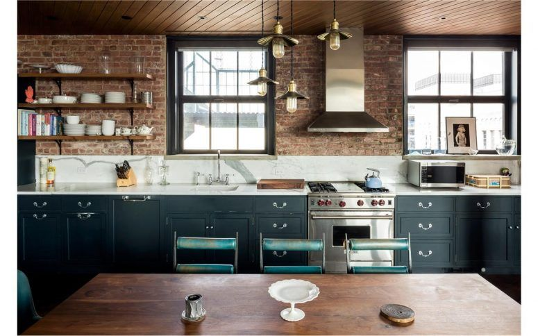Kitchen Kitchen Cupboards Made With Bricks Rectangle Brown Minimalist Wood Island Wooden Dining Tabl Industrial Style Kitchen Brick Kitchen Celebrity Kitchens