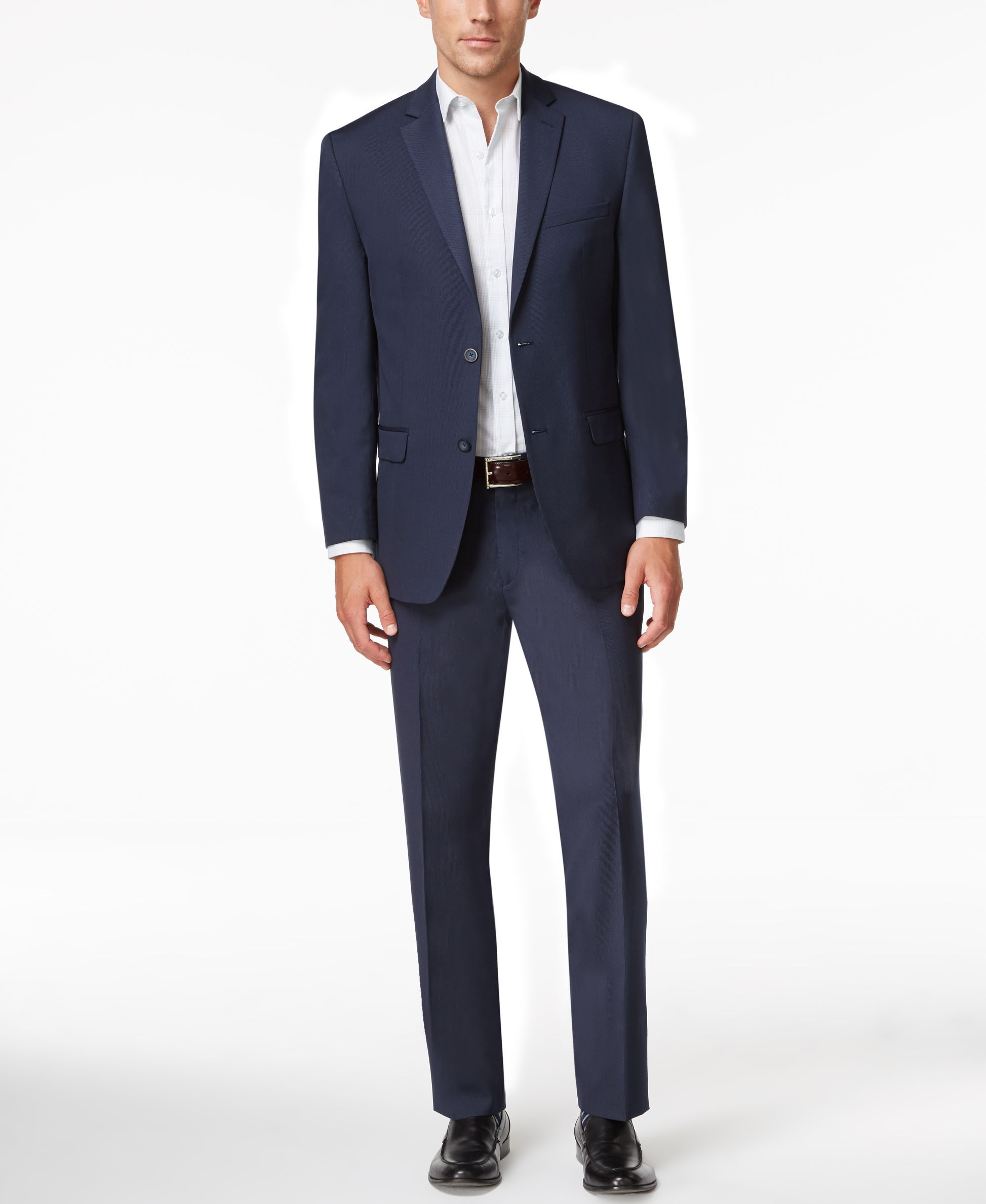 Navy blue dress shoes for wedding  Marc New York by Andrew Marc Menus SlimFit Navy MiniStripe Suit