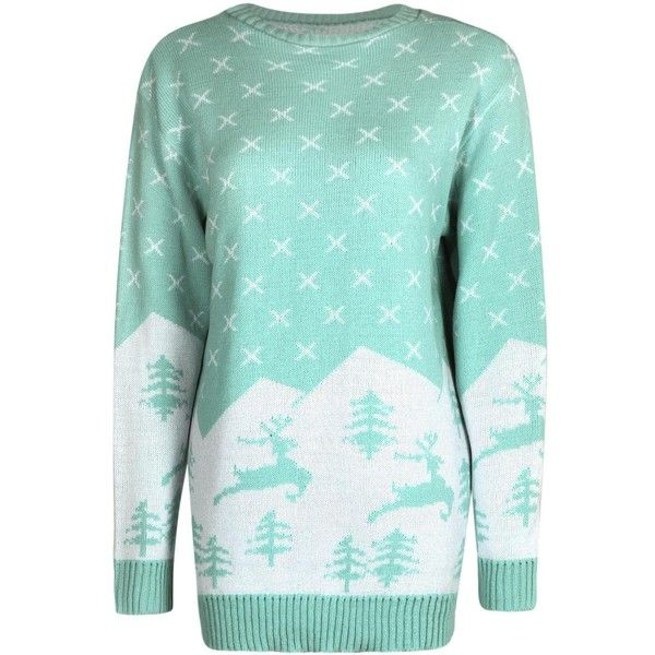 rose fairisle alpine scene christmas jumper 30 cad a liked on polyvore featuring tops