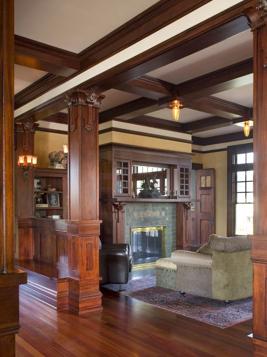 Traditional Living Room Craftsman Design, Pictures, Remodel ...