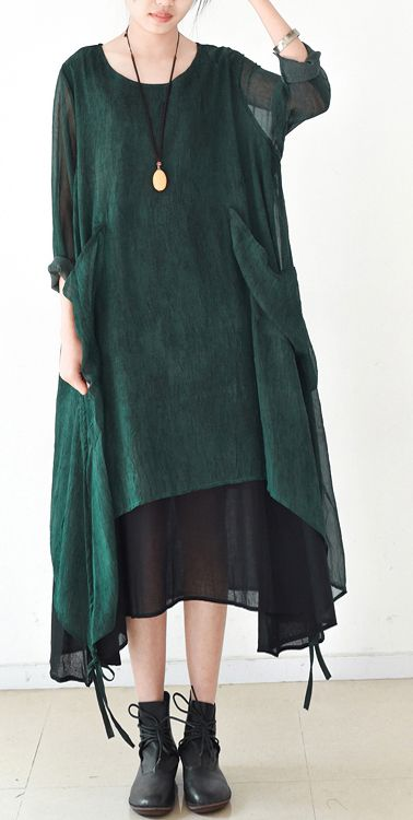 ad55c6aac8871 2017 blackish green asymmetric chiffon plus size casual pockers maxi dress