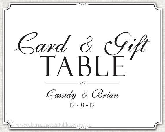 Wedding Gift Table Sign - PRINTABLE DIY Digital File Sign - Card ...