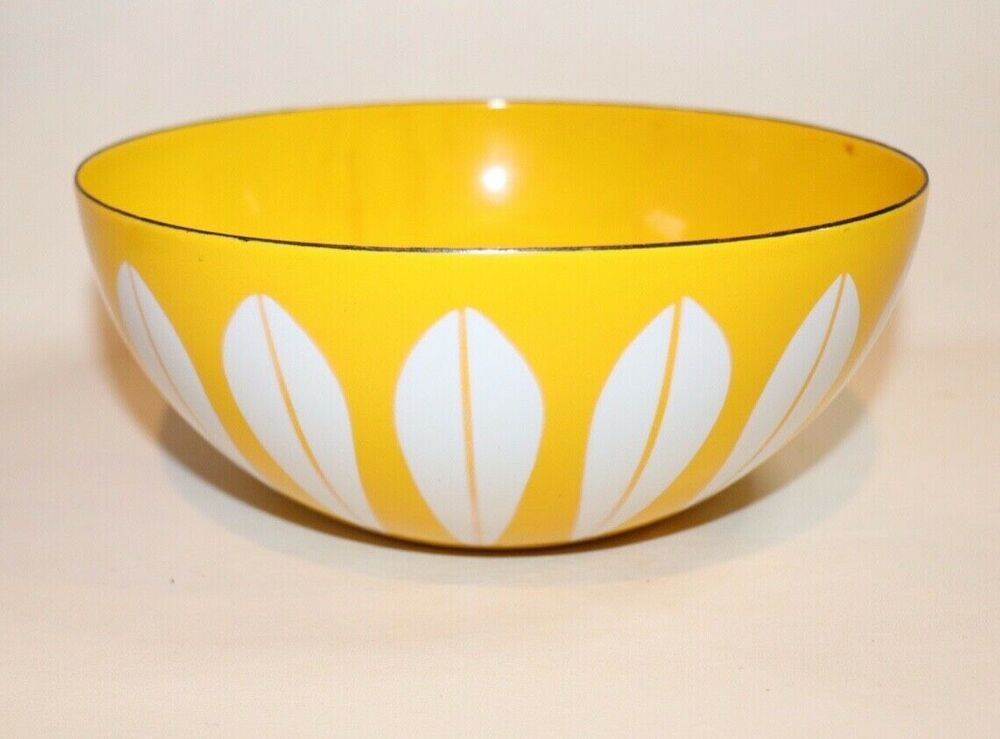Vintage Cathrineholm of Norway Small Yellow / White