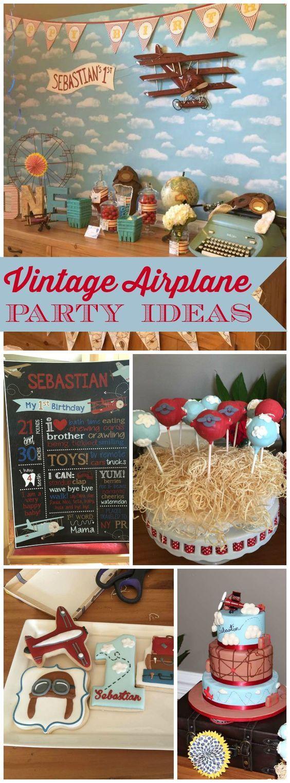 Vintage AirplanesWord travel Birthday Sebastians First Birthday