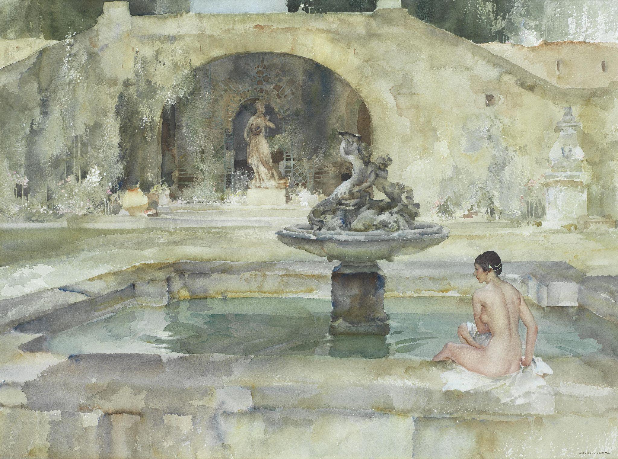 Sir William Russell Flint. Stephanie's pool. British, 1880-1969.