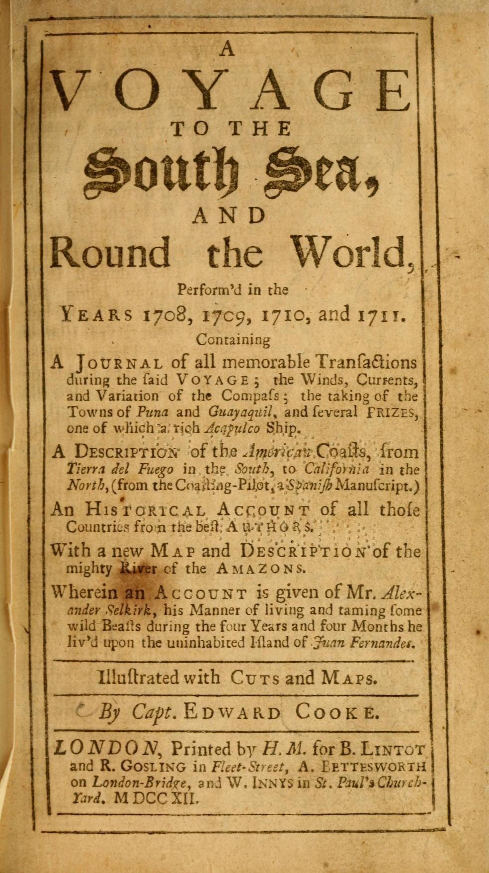 Crónica que recoge la invasión pirata de Woodes Rogers a Guayaquil, escrita por el capitán Edward Cooke (17212)