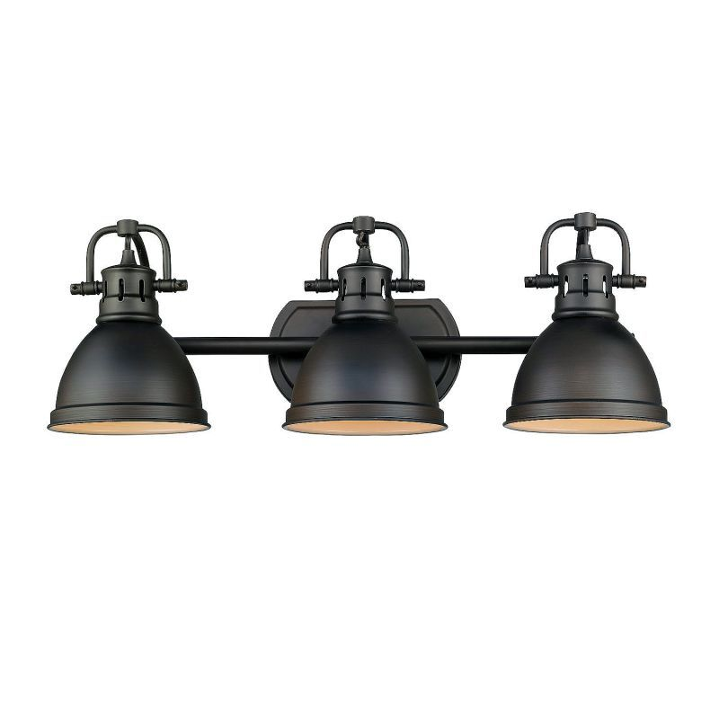 "Photo of Golden Lighting 3602-BA3 RBZ-RBZ Rubbed Bronze Duncan 3 Light 25 ""Wide Bathroom Vanity Light – LightingDirect.com"