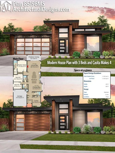 Architectural designs modern house plan ms gives you over square feet of heated living space ready when are where do want to build also rh pinterest