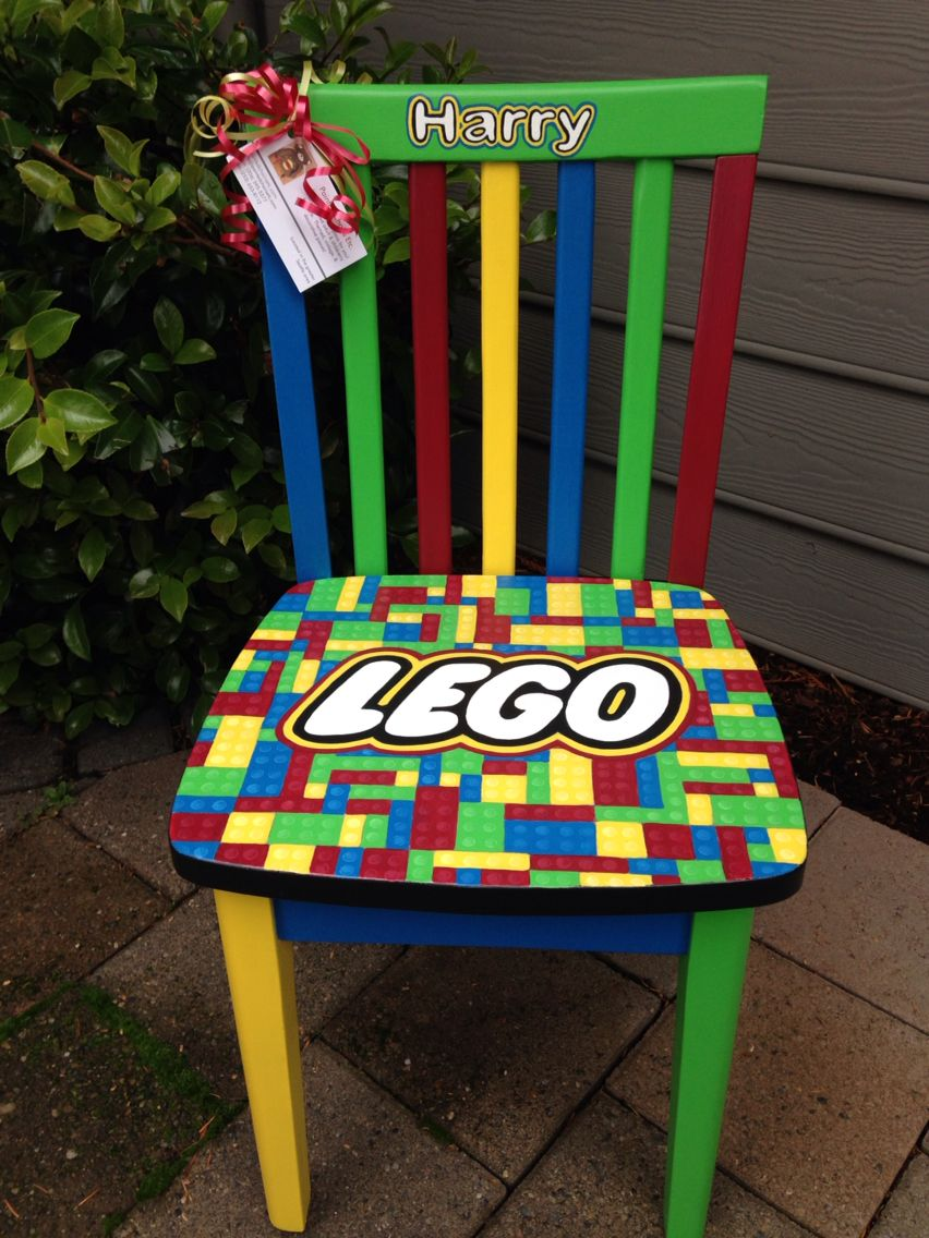 Lego Custom Chair For Child. Lego Themed With Red, Blue, Green, And