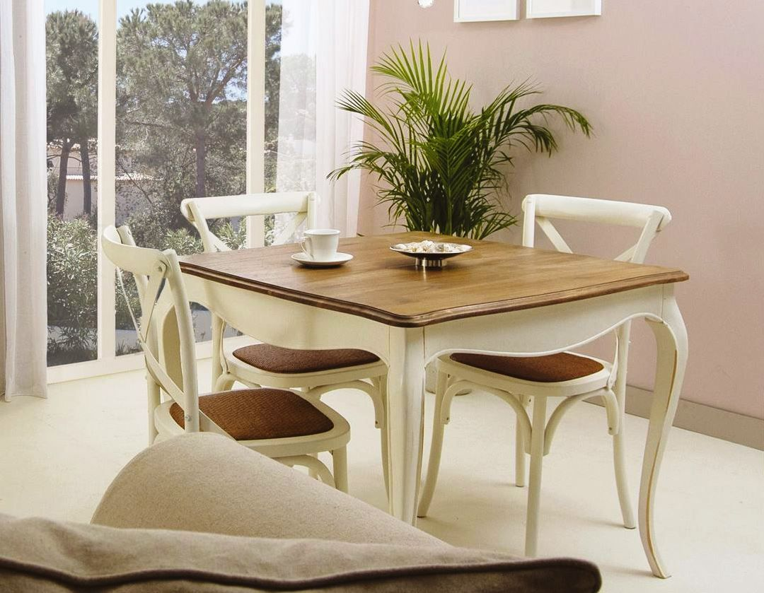 Mesa de comedor fija PARÍS cuadrada y sillas CRUZ de Bambó Blau, de ...