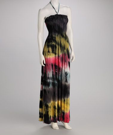Take a look at this Gray & Yellow Tie-Dye Smocked Maxi Dress by CLUB Z on #zulily today!