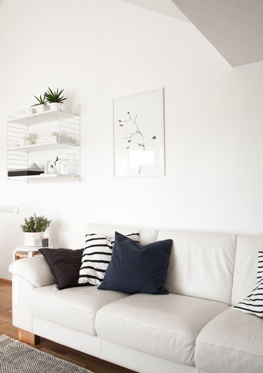 monochrome scandinavian living room string shelf one. Black Bedroom Furniture Sets. Home Design Ideas