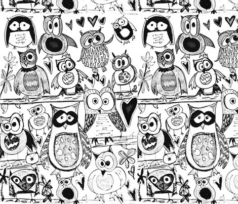 Color in Owls fabric by mcca11 on Spoonflower - custom fabric