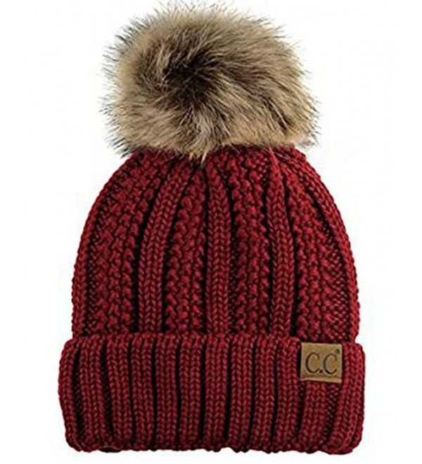 0192074991a Faux Fur Pompom Cable Knit Beanie - Cherry