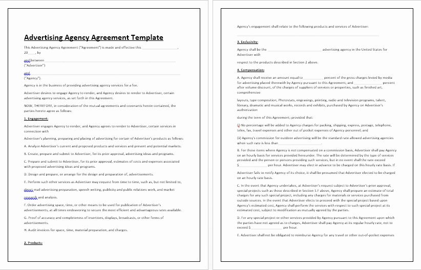 Simple Advertising Contract Template Lovely Business