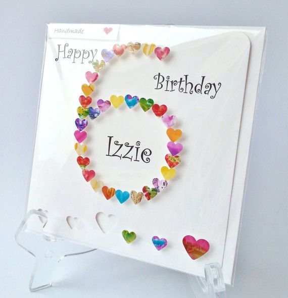 6th Birthday Card Personalised And Handmade Age 6 Card Etsy Creative Birthday Cards Kids Birthday Cards Girl Birthday Cards