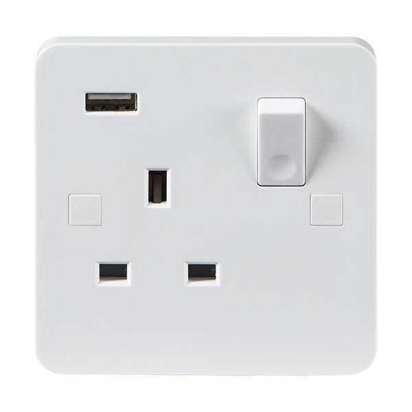 Knightsbridge Pure Pu9901 13a Dp 1g Switched Socket With Single Usb Charging Outlet White Usb Charging Sockets Wall Accessories