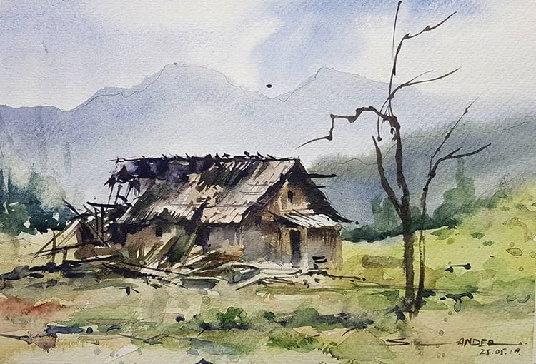 Instagram Watercolor Landscape Paintings Landscape Paintings