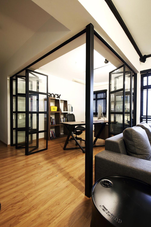 Hdb Study Room Design Ideas: Sengkang, Industrial HDB Interior Design, Study & Living